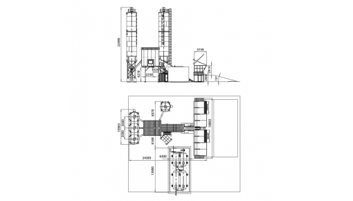 "Dimensional drawing of concrete plant ""BASALT-100"""
