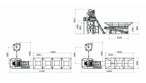 Dimensional drawing of concrete plant GRANITE-60