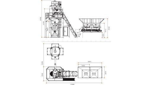 Габаритный чертёж Мобильный бетонный завод ГРАНИТ-42